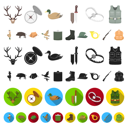 Hunting and trophy cartoon icons in set collection for design. Hunting and equipment vector symbol stock  illustration.
