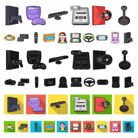 Console de jeu et icônes de dessin animé de réalité virtuelle dans la collection de jeu pour la conception.Gadgets de jeu vector illustration stock symbole. Vecteurs