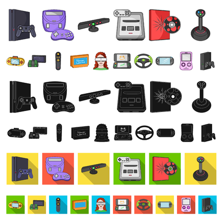 Game console and virtual reality cartoon icons in set collection for design.Game Gadgets vector symbol stock illustration. 向量圖像