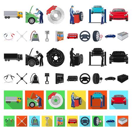 Coche, ascensor, bomba y otros equipos, dibujos animados, iconos de colección set de diseño. Ilustración de stock de símbolo de vector de estación de mantenimiento de coche. Ilustración de vector