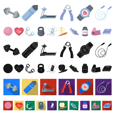 Gym and training cartoon icons in set collection for design. Gym and equipment vector symbol stock illustration. Ilustração
