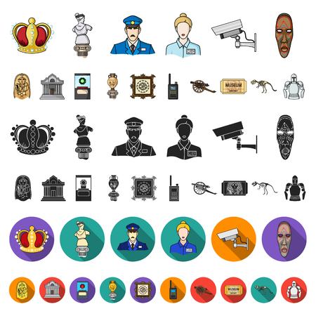 Museum and gallery cartoon icons in set collection for design. Storage and exhibition of showpiece vector symbol stock illustration. Векторная Иллюстрация