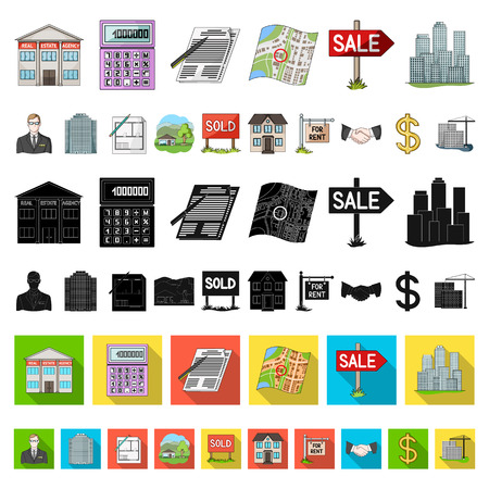Realtor, agency cartoon icons in set collection for design. Buying and selling real estate vector symbol stock  illustration.