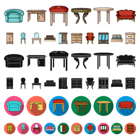 Furniture and interior cartoon icons in set collection for design.Home furniture vector symbol stock web illustration.