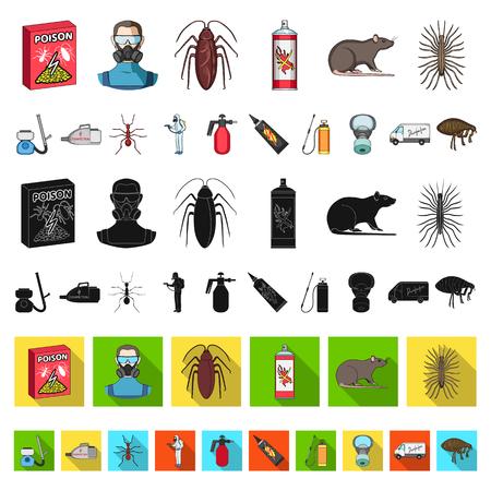 Icone del fumetto di parassiti, veleno, personale e attrezzature nella raccolta di set per il disegno. Illustrazione delle azione di simbolo di vettore del servizio di controllo dei parassiti. Vettoriali