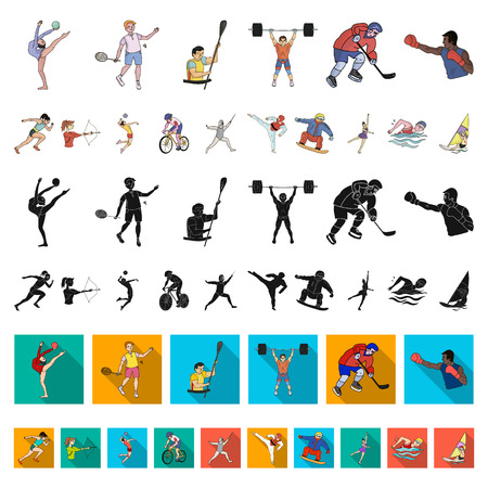 Different kinds of sports cartoon icons in set collection for design. Athlete, competitions vector symbol stock  illustration. Vettoriali
