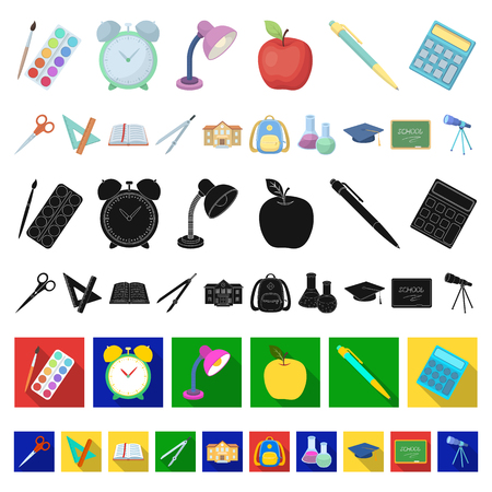 School and education cartoon icons in set collection for design.College, equipment and accessories vector symbol stock  illustration. Stock Illustratie