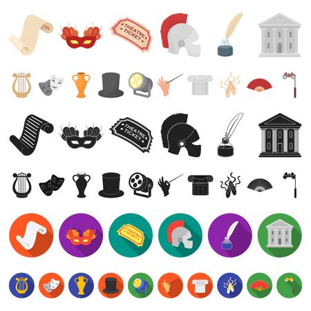 Icone del fumetto di arte teatrale nella raccolta di set per design.Teatro attrezzature e accessori simbolo vettore illustrazione stock. Vettoriali