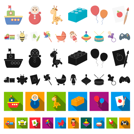 Children s toy cartoon icons in set collection for design. Game and bauble vector symbol stock illustration.