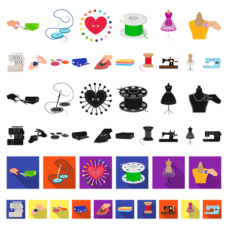 Atelier and equipment cartoon icons in set collection for design. Sewing of outer clothing vector symbol stock  illustration.