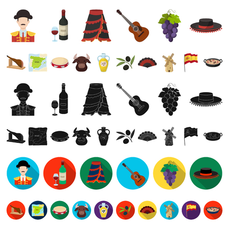 Spain country cartoon icons in set collection for design.Travel and attractions vector symbol stock  illustration.