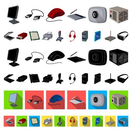 Personal computer cartoon icons in set collection for design. Equipment and accessories vector symbol stock  illustration. Иллюстрация