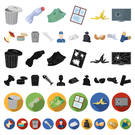 Garbage and waste cartoon icons in set collection for design. Cleaning garbage vector symbol stock  illustration.
