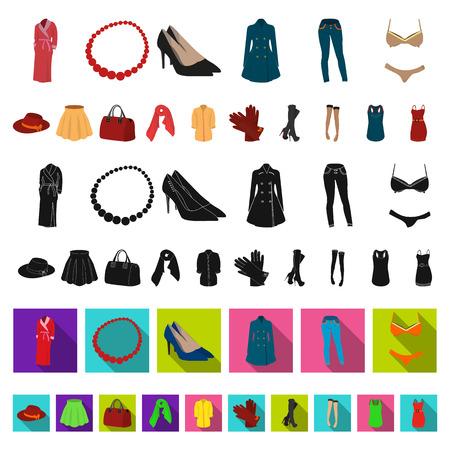 Frauenkleidungskarikaturikonen in der Satzsammlung für Design. Kleidungssorten und Zubehörvektorsymbolvorratillustration.