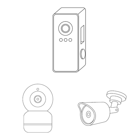 Vector design of cctv and camera symbol. Collection of cctv and system stock vector illustration.