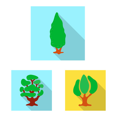 Vector illustration of tree and nature symbol. Collection of tree and crown stock vector illustration. Vettoriali