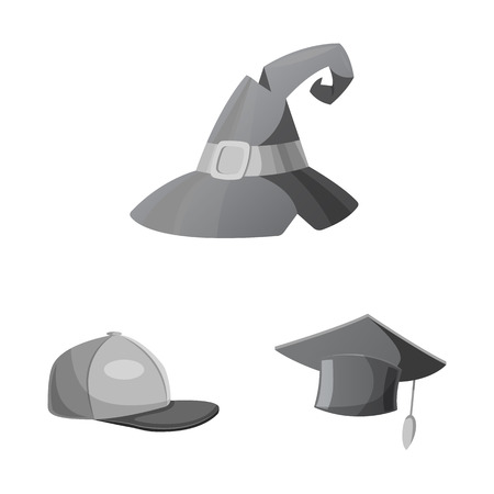 Isolated object of headgear and cap logo. Collection of headgear and accessory vector icon for stock.