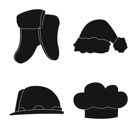 Vector illustration of headgear and cap sign. Set of headgear and accessory vector icon for stock.