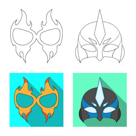 Illustrazione vettoriale di eroe e segno di maschera. Set di eroe e supereroe simbolo azionario per il web.