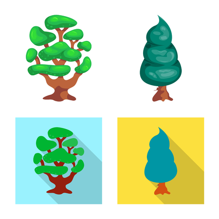 Vector design of tree and nature sign. Collection of tree and crown vector icon for stock. Иллюстрация