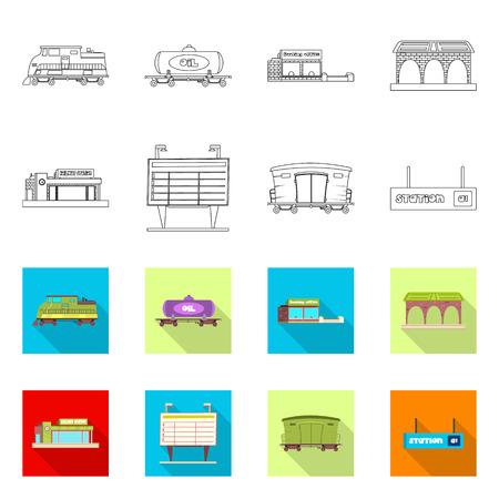 Vector illustration of train and station symbol. Set of train and ticket stock vector illustration. Illustration