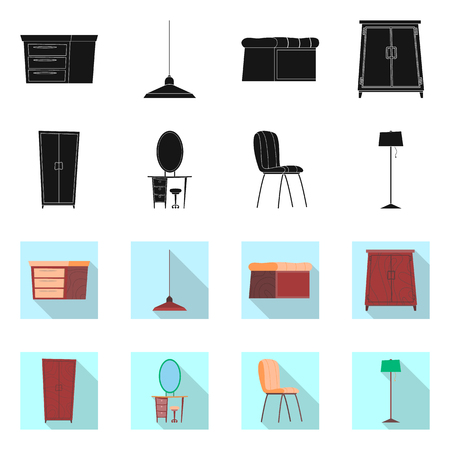 Vector design of furniture and apartment sign. Set of furniture and home stock symbol for web.