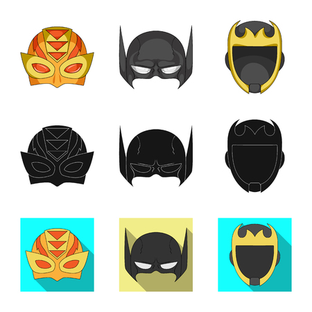 Vector design of hero and mask icon. Set of hero and superhero vector icon for stock.