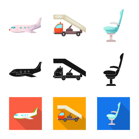 Vector design of airport and airplane icon. Set of airport and plane stock symbol for web. Иллюстрация