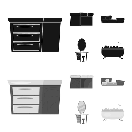 Isolated object of furniture and apartment icon. Collection of furniture and home stock symbol for web.