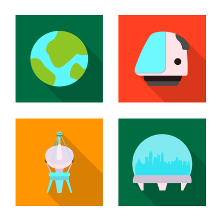 Vector illustration of mars and space icon. Collection of mars and planet stock symbol for web. 스톡 콘텐츠 - 109023455