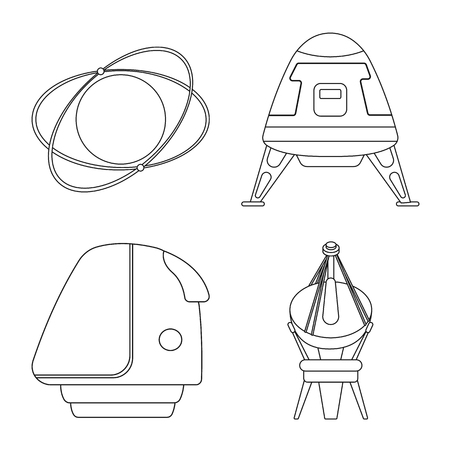Vector illustration of mars and space sign. Collection of mars and planet stock vector illustration. Vektorové ilustrace