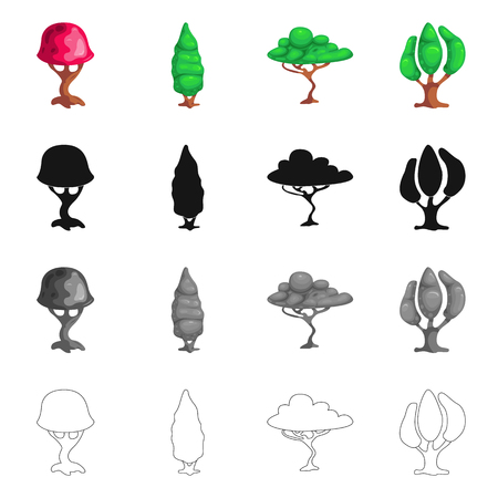 Isolated object of tree and nature symbol. Set of tree and crown stock symbol for web.
