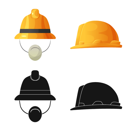 Vector illustration of headgear and cap symbol. Set of headgear and accessory stock vector illustration. Ilustrace