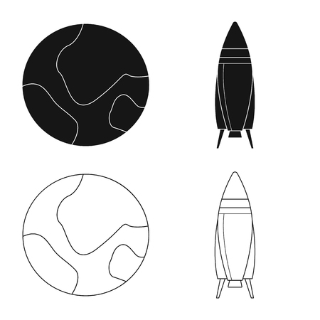 Isolated object of mars and space icon. Collection of mars and planet stock vector illustration.