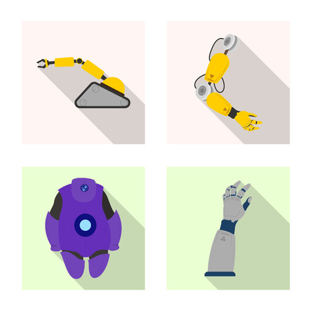 Vector design of robot and factory symbol. Set of robot and space stock symbol for web. Ilustrace