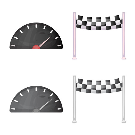 Isolated object of car and rally icon. Set of car and race stock symbol for web. Illustration