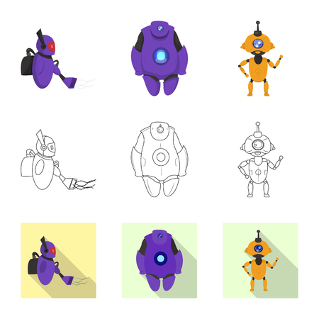 Vector design of robot and factory symbol. Set of robot and space stock vector illustration. Ilustrace
