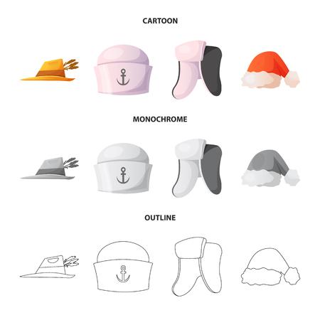 Vector design of headgear and cap symbol. Set of headgear and accessory vector icon for stock. Ilustracje wektorowe