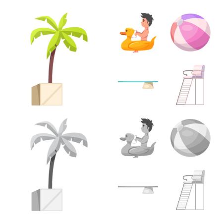 diseño del vector de la piscina y el símbolo de la piscina. decoración de la piscina y el concepto de actividad de la ilustración para la web Ilustración de vector