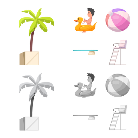 Vector design of pool and swimming symbol. Collection of pool and activity stock symbol for web.