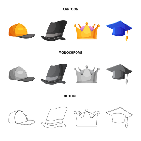 Vector illustration of headgear and cap icon. Set of headgear and accessory stock symbol for web. Illustration