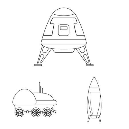 Vector ontwerp van mars en ruimtesymbool. Set van mars en planeet vector pictogram voor voorraad. Vector Illustratie