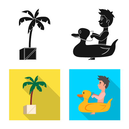 Isolated object of pool and swimming icon. Collection of pool and activity stock symbol for web.