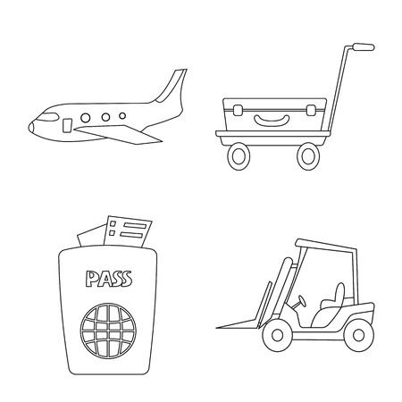 Vector illustration of airport and airplane icon. Set of airport and plane stock vector illustration.