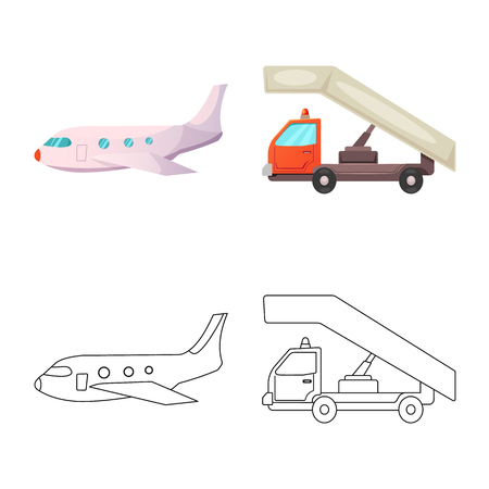 Vector design of airport and airplane symbol. Set of airport and plane vector icon for stock.