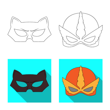 Vector illustration of hero and mask sign. Set of hero and superhero vector icon for stock.