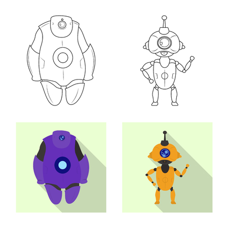 Isolated object of robot and factory icon. Set of robot and space stock symbol for web.