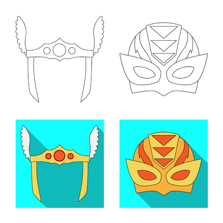 Isolated object of hero and mask logo. Collection of hero and superhero stock vector illustration.