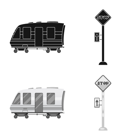 Vector illustration of train and station symbol. Collection of train and ticket vector icon for stock.  イラスト・ベクター素材