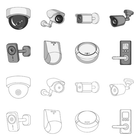 Vector illustration of cctv and camera logo. Collection of cctv and system vector icon for stock.